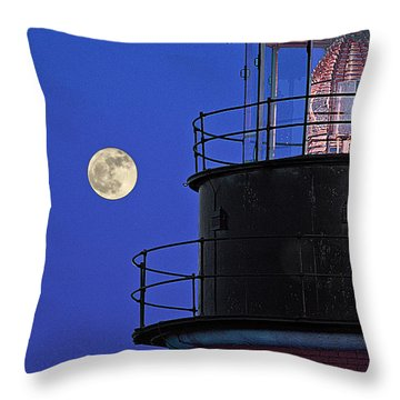 Throw Pillow featuring the photograph Full Moon And West Quoddy Head Lighthouse Beacon by Marty Saccone