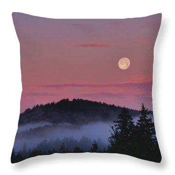 Full Moon At Dawn Throw Pillow by Peggy Collins