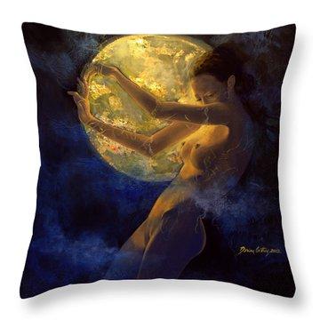 Full Moon Throw Pillow by Dorina  Costras