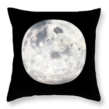 Throw Pillow featuring the painting Full Moon In Black Night by Janice Dunbar
