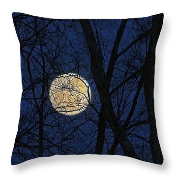 Full Moon March 15 2014 Throw Pillow