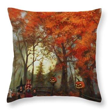 Full Moon On Halloween Lane Throw Pillow