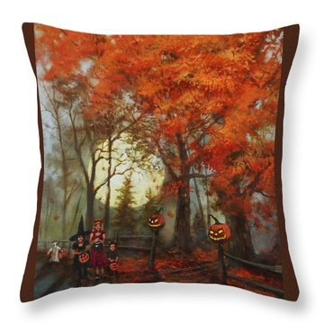 Full Moon On Halloween Lane Throw Pillow by Tom Shropshire
