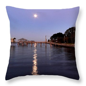 Full Moon On The Bay Throw Pillow