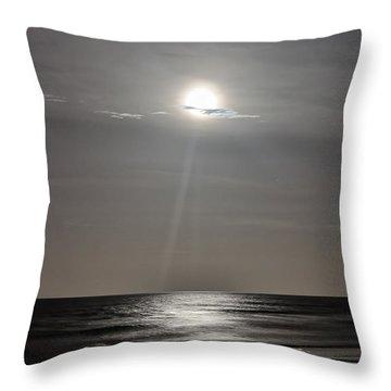 Full Moon Over Daytona Beach Throw Pillow