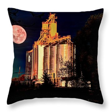Full Moon Over Elevator Throw Pillow
