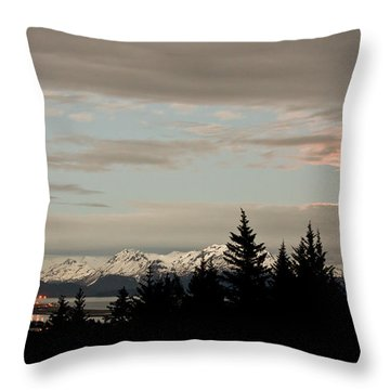 Full Moon Over Homer Alaska Throw Pillow