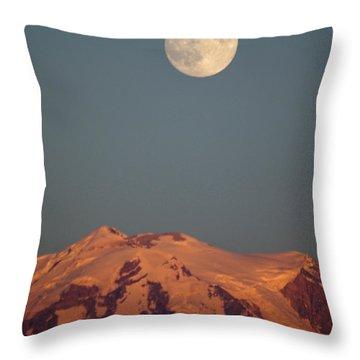 Full Moon Over Mount Rainier Throw Pillow