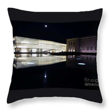 Full Moon Over Nelson Atkins Museum In Kansas City Throw Pillow