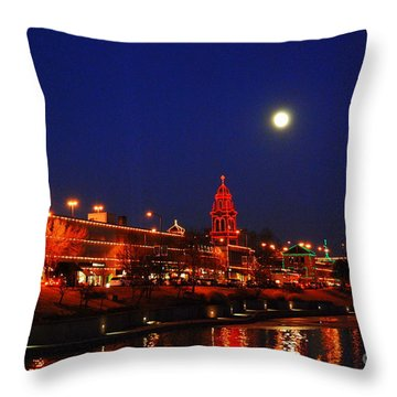 Full Moon Over Plaza Lights In Kansas City Throw Pillow
