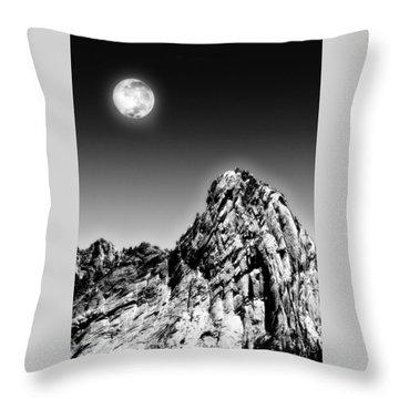 Full Moon Over The Suicide Rock Throw Pillow by Ben and Raisa Gertsberg
