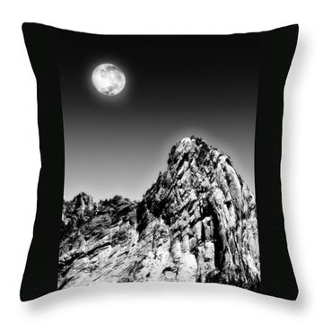Full Moon Over The Suicide Rock Throw Pillow