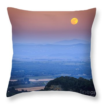 Full Moon Over Vejer Cadiz Spain Throw Pillow