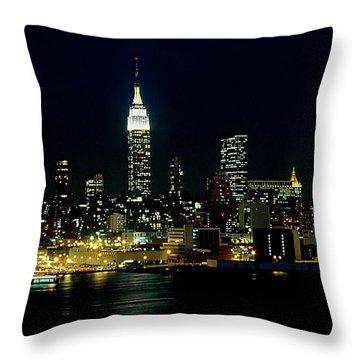 Full Moon Rising - New York City Throw Pillow