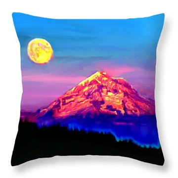 Full Moon Rising Over Mount Hood Oregon Throw Pillow