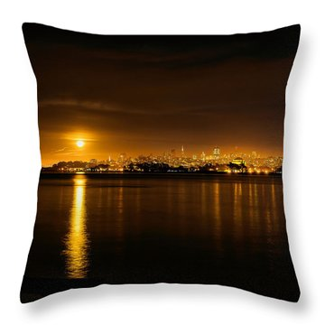 Full Moon Rising Over San Francisco Throw Pillow by Steven Reed