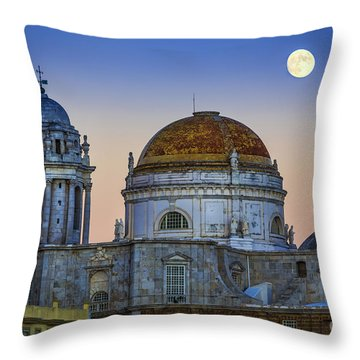 Full Moon Rising Over The Cathedral Cadiz Spain Throw Pillow