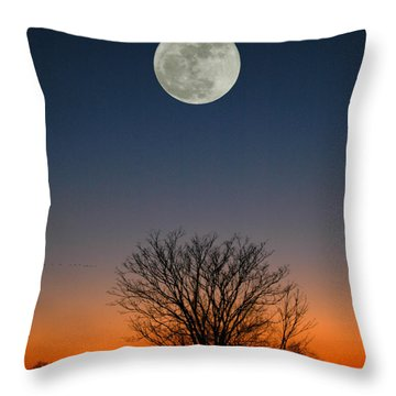 Throw Pillow featuring the photograph Full Moon Rising by Raymond Salani III