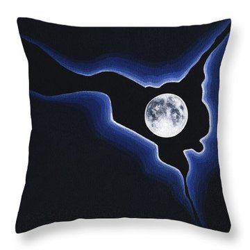 Throw Pillow featuring the painting Full Moon Silver Lining by Janice Dunbar