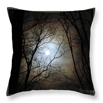 Full Moon Through The Trees Throw Pillow by Patricia Overmoyer
