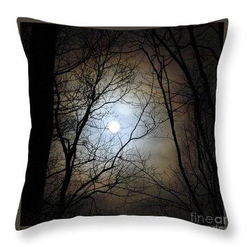 Full Moon Through The Trees Throw Pillow