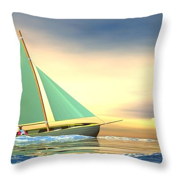 Full Sail Throw Pillow by John Pangia