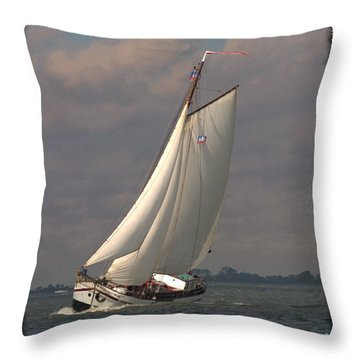 Throw Pillow featuring the photograph Full Sail by Luc Van de Steeg
