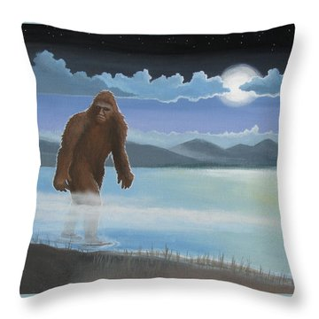 Fullmoon Squatch Throw Pillow