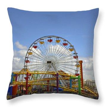 Fun At Santa Monica Pier Throw Pillow by Kim Hojnacki