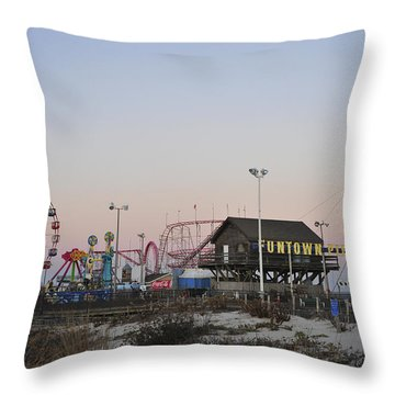 Fun At The Shore Seaside Park New Jersey Throw Pillow by Terry DeLuco