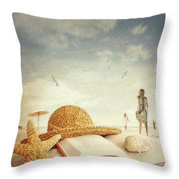 Fun Day At The Beach Throw Pillow by Sandra Cunningham