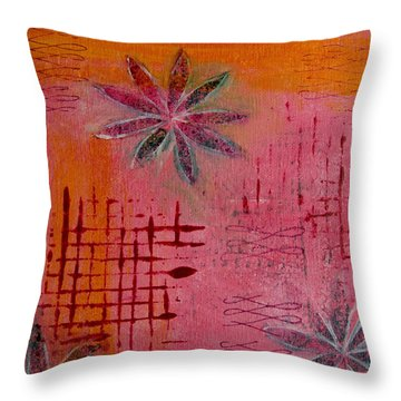 Fun Flowers In Pink And Orange 1 Throw Pillow