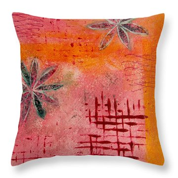 Fun Flowers In Pink And Orange 2 Throw Pillow