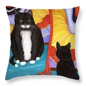 Throw Pillow featuring the painting Fun House Fat Cat by Karen Zuk Rosenblatt