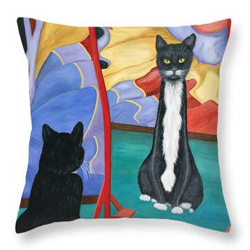 Throw Pillow featuring the painting Fun House Skinny Cat by Karen Zuk Rosenblatt