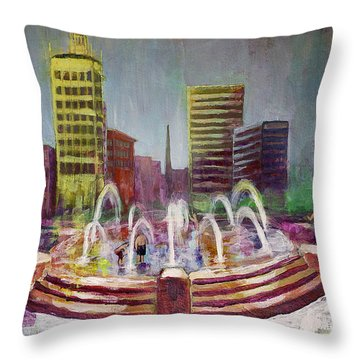 Fun In The Fountain In Asheville Throw Pillow by Gray  Artus