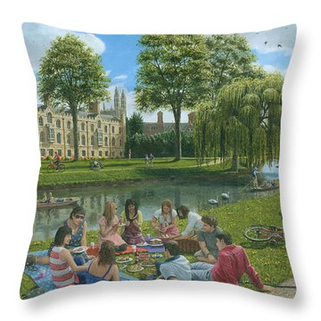 Fun On The River Cam Cambridge Throw Pillow by Richard Harpum