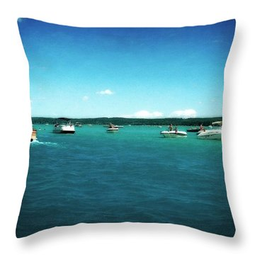 Fun On The Torch Lake Sandbar Throw Pillow