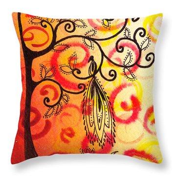 Fun Tree Of Life Impression II Throw Pillow by Irina Sztukowski