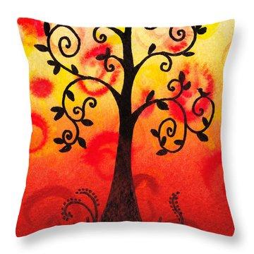 Fun Tree Of Life Impression IIi Throw Pillow by Irina Sztukowski