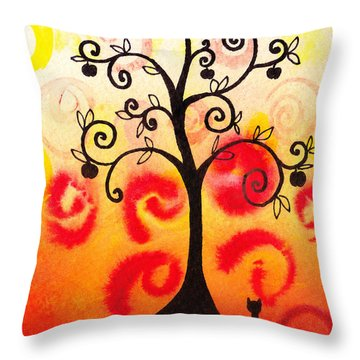 Fun Tree Of Life Impression Iv Throw Pillow by Irina Sztukowski
