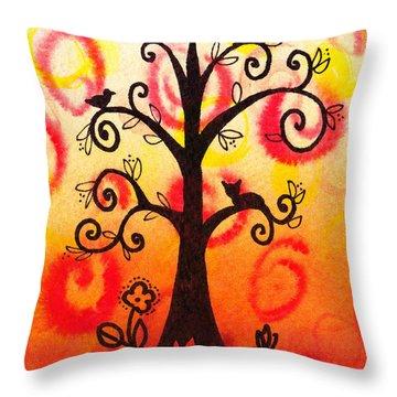 Fun Tree Of Life Impression V Throw Pillow by Irina Sztukowski