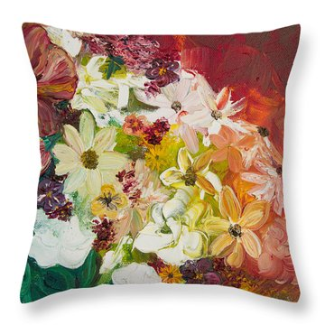 Fun With Flowers Throw Pillow