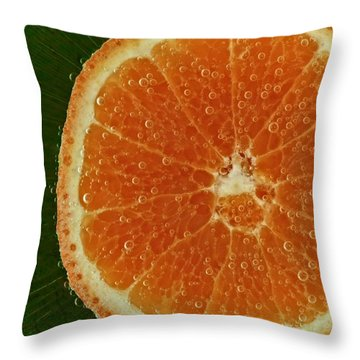 Fun With Fruit Orange Bubbles Throw Pillow by Inspired Nature Photography Fine Art Photography