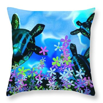 Fun With Sea Turtles Throw Pillow by Lady Ex