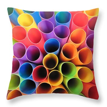Fun With Straws Throw Pillow by Mary Bedy