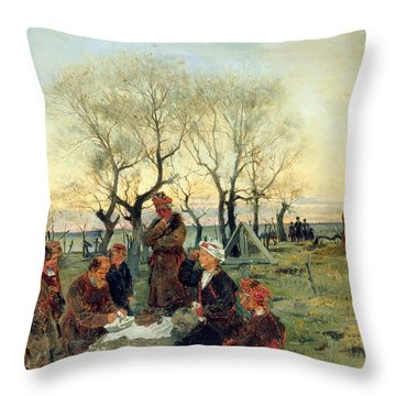Funeral Repast At The Grave, 1884 Oil On Canvas Throw Pillow