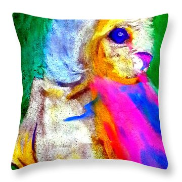 Funky Barn Owl Art Print Throw Pillow