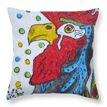 Funky Cartoon Rooster Throw Pillow
