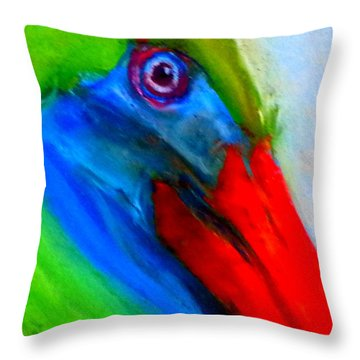 Funky Colorful Pelican Art Prints Throw Pillow